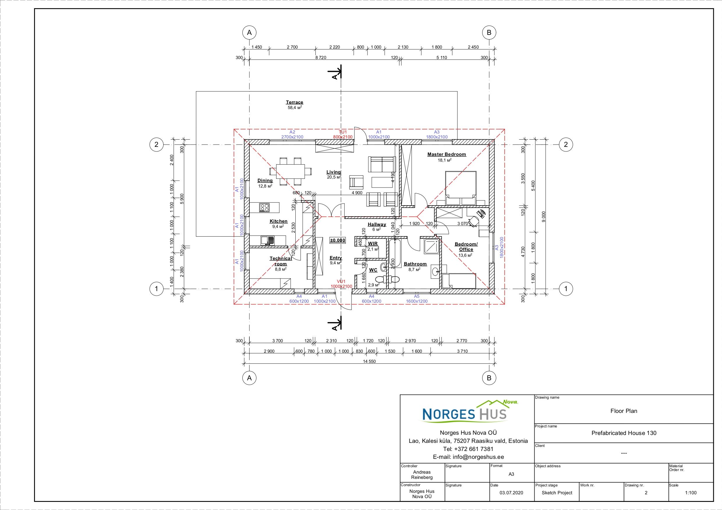 Planimetria della costruzione Casa in Legno modello MODELLO 130 di NORGES HUS