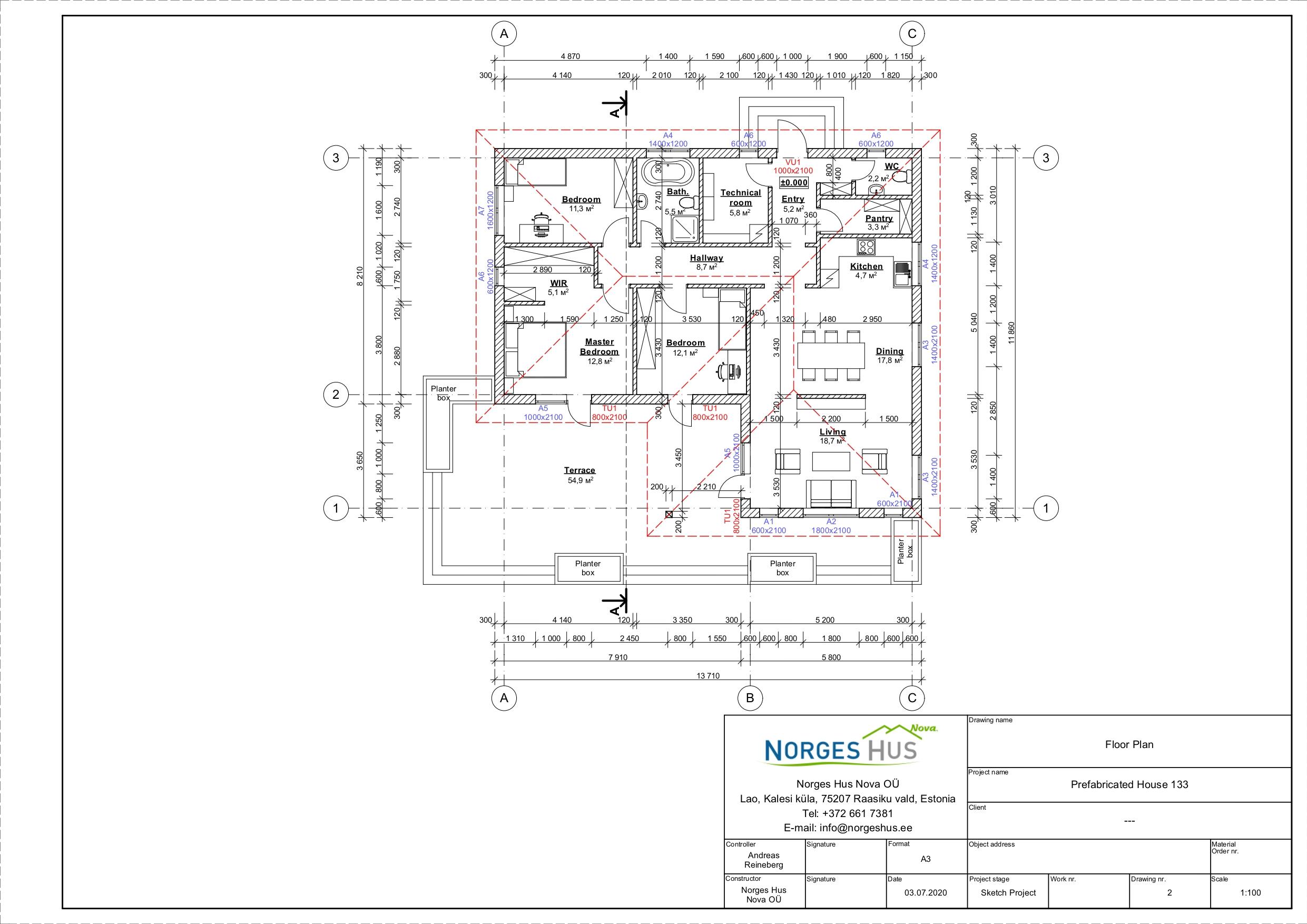 Planimetria della costruzione Casa in Legno modello MODELLO 133 di NORGES HUS