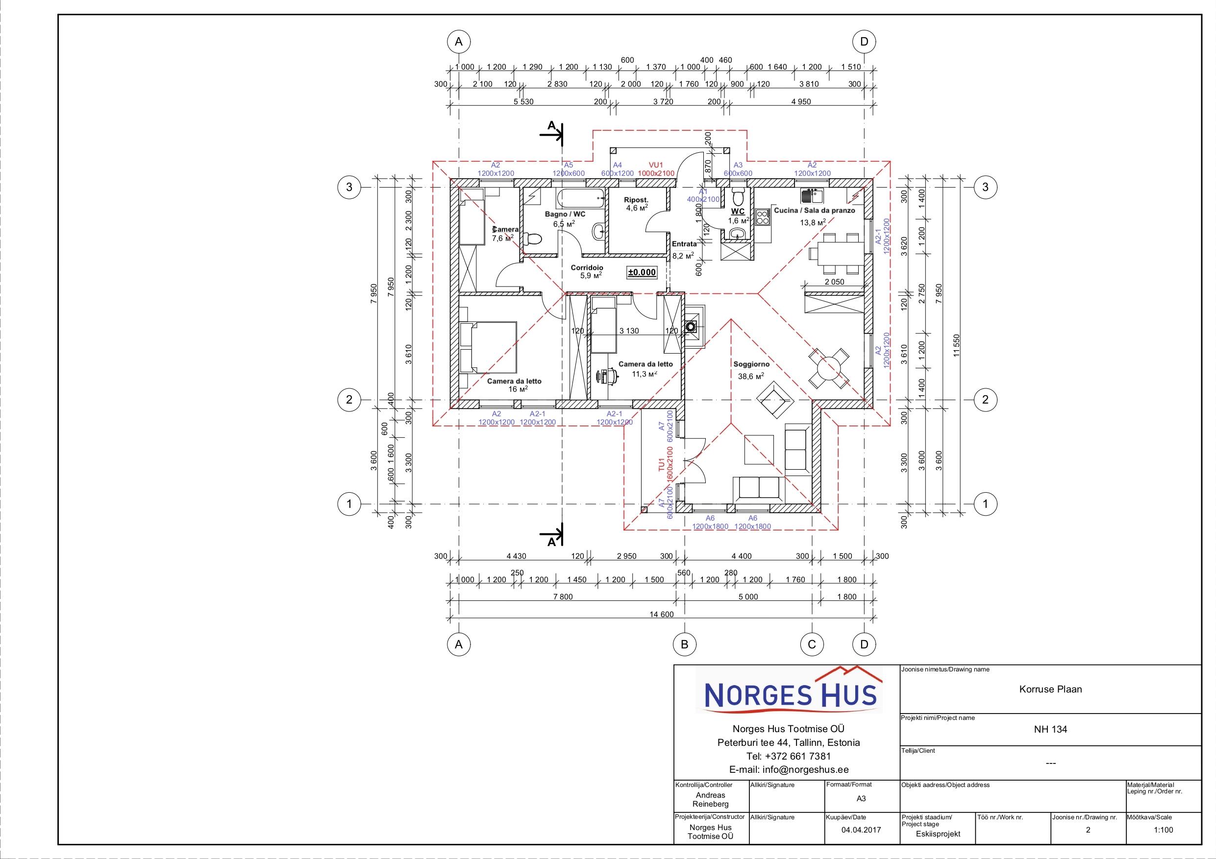 Planimetria della costruzione Casa in Legno modello MODELLO 134 di NORGES HUS