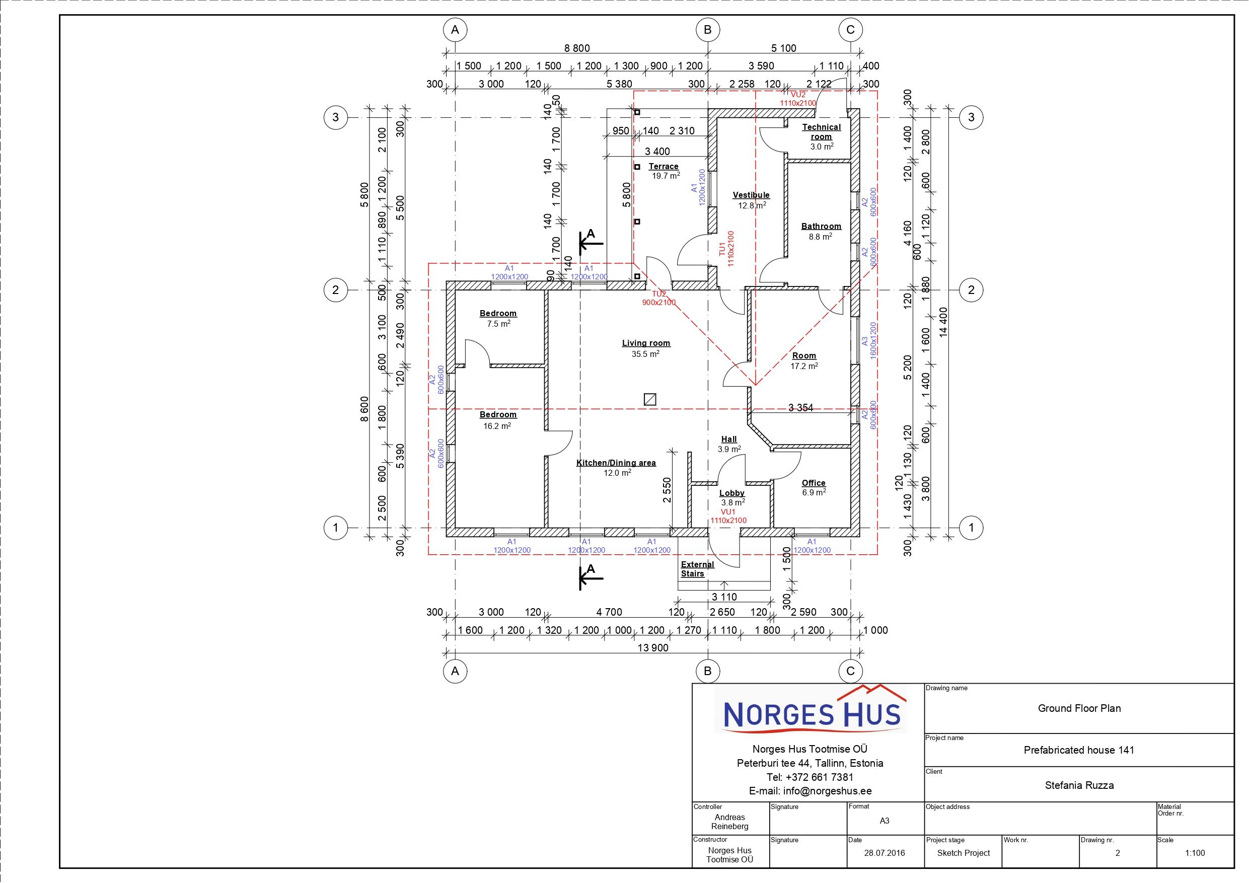 Planimetria della costruzione Casa in Legno modello MODELLO 141 di NORGES HUS