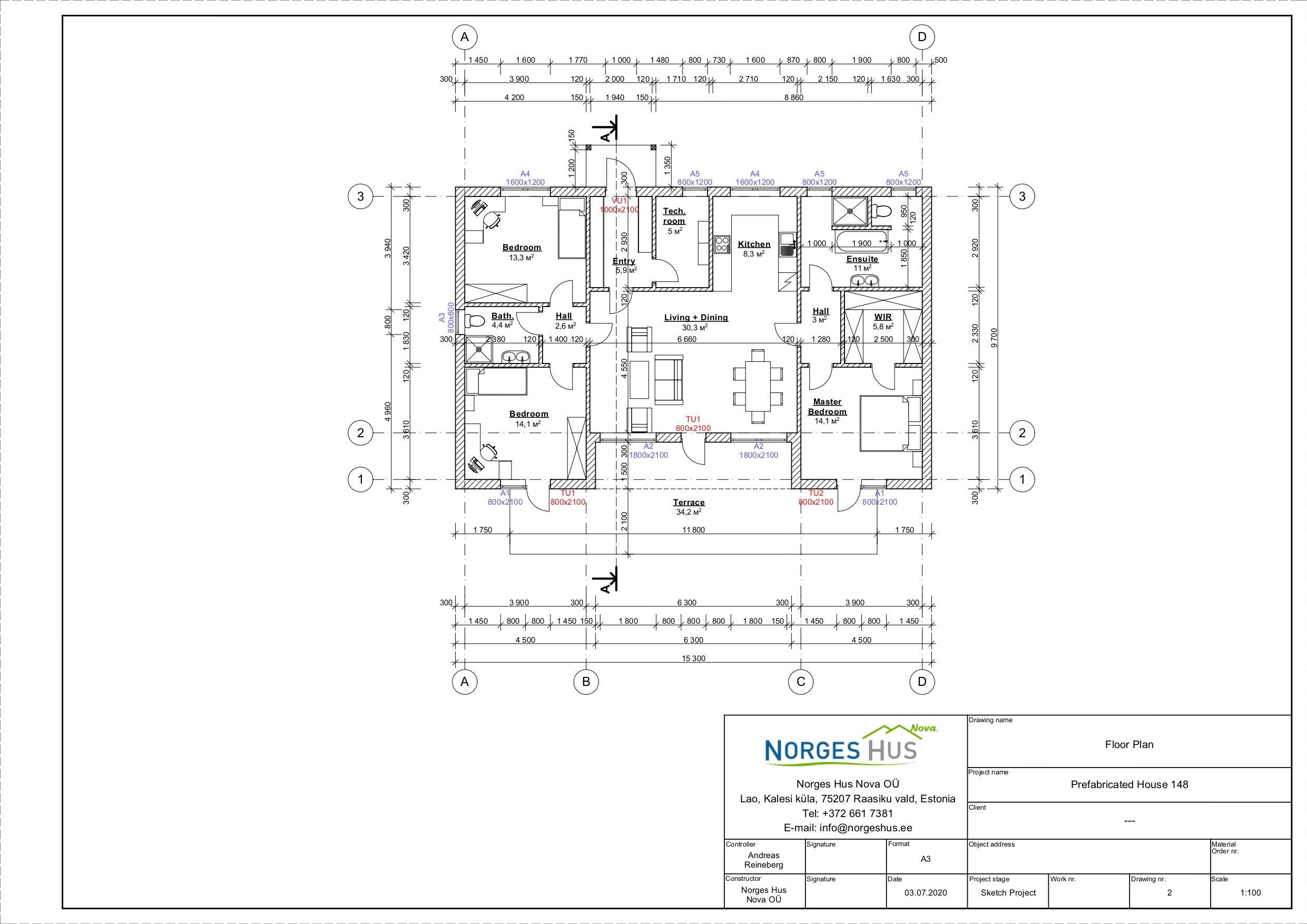 Planimetria della costruzione Casa in Legno modello MODELLO 148 di NORGES HUS