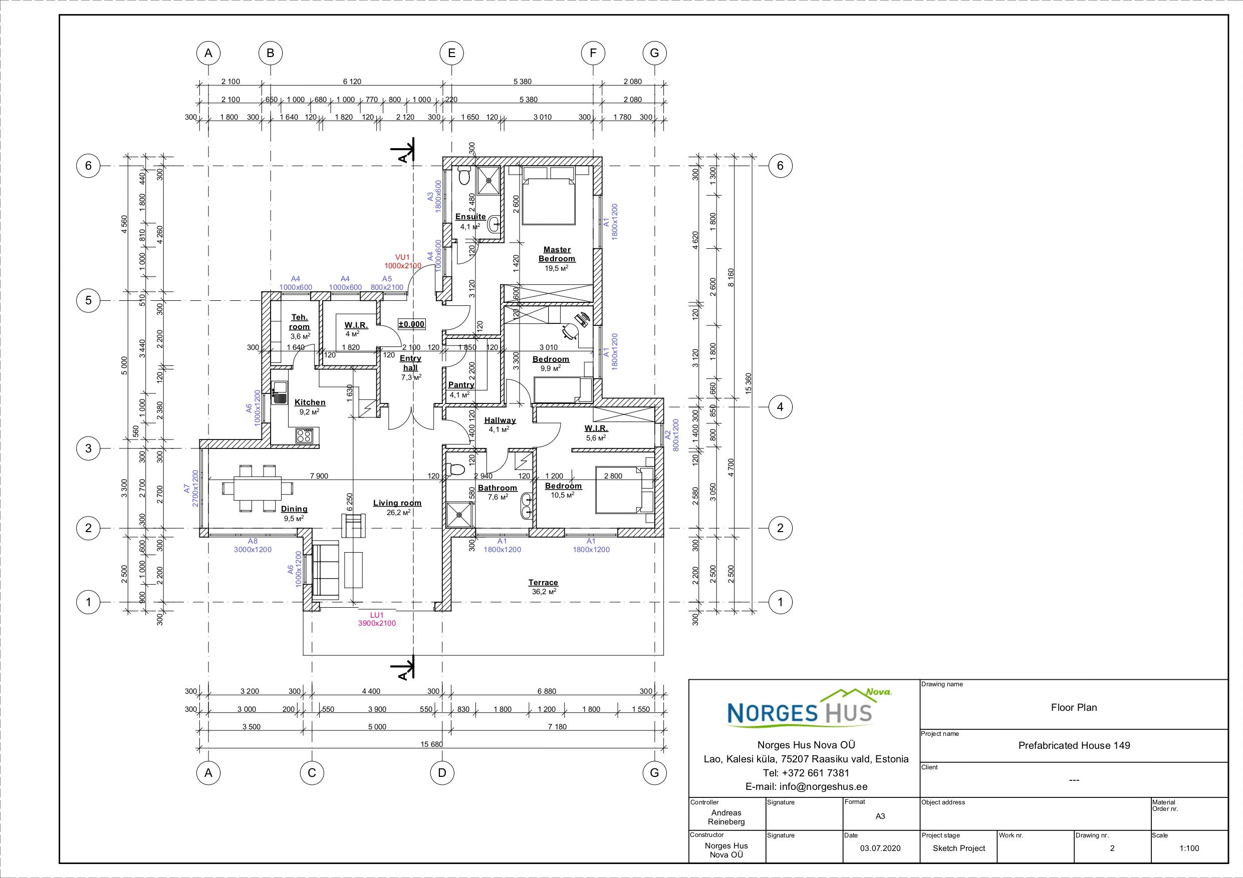 Planimetria della costruzione Casa in Legno modello MODELLO 149 di NORGES HUS