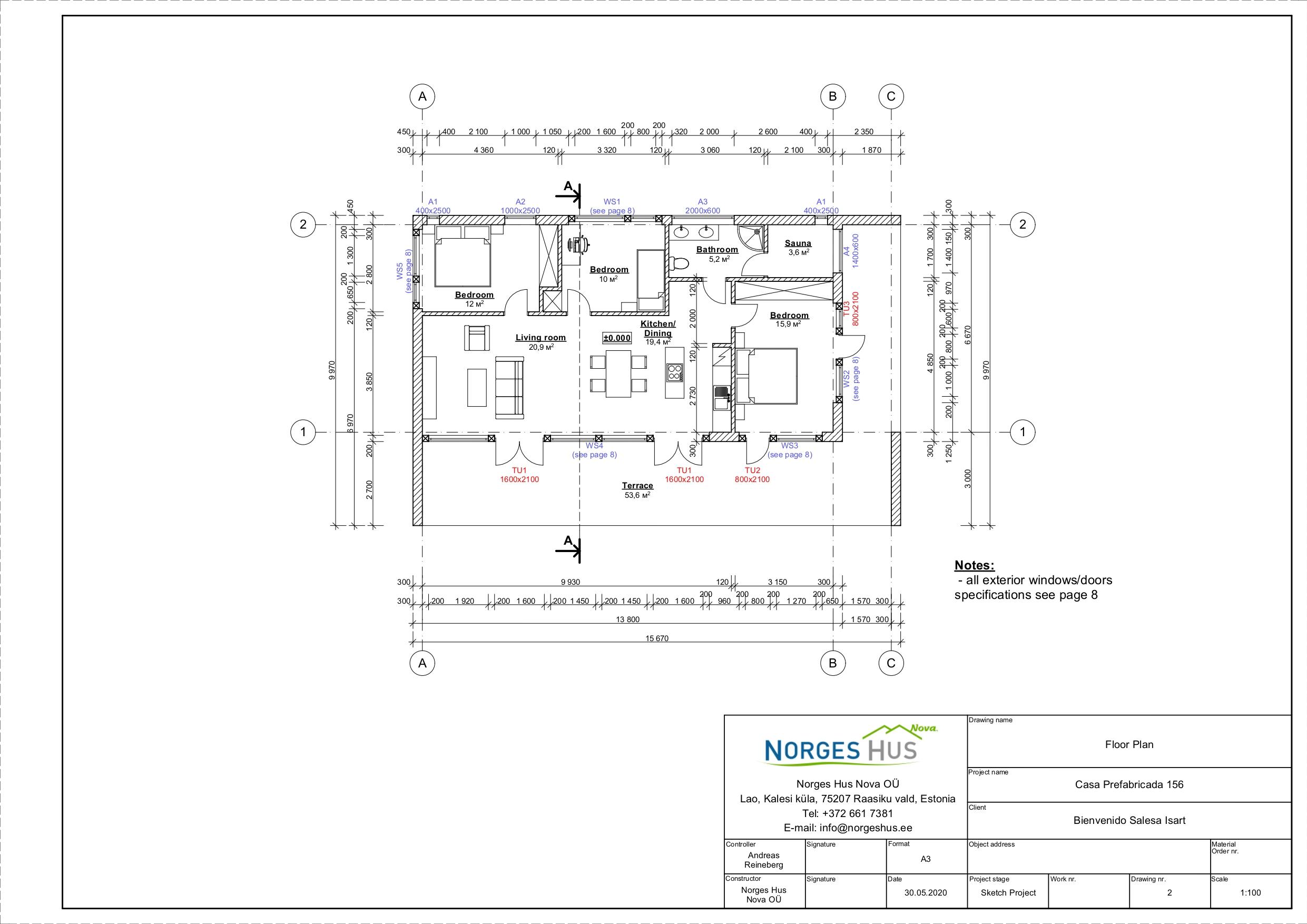Planimetria della costruzione Casa in Legno modello MODELLO 156 di NORGES HUS