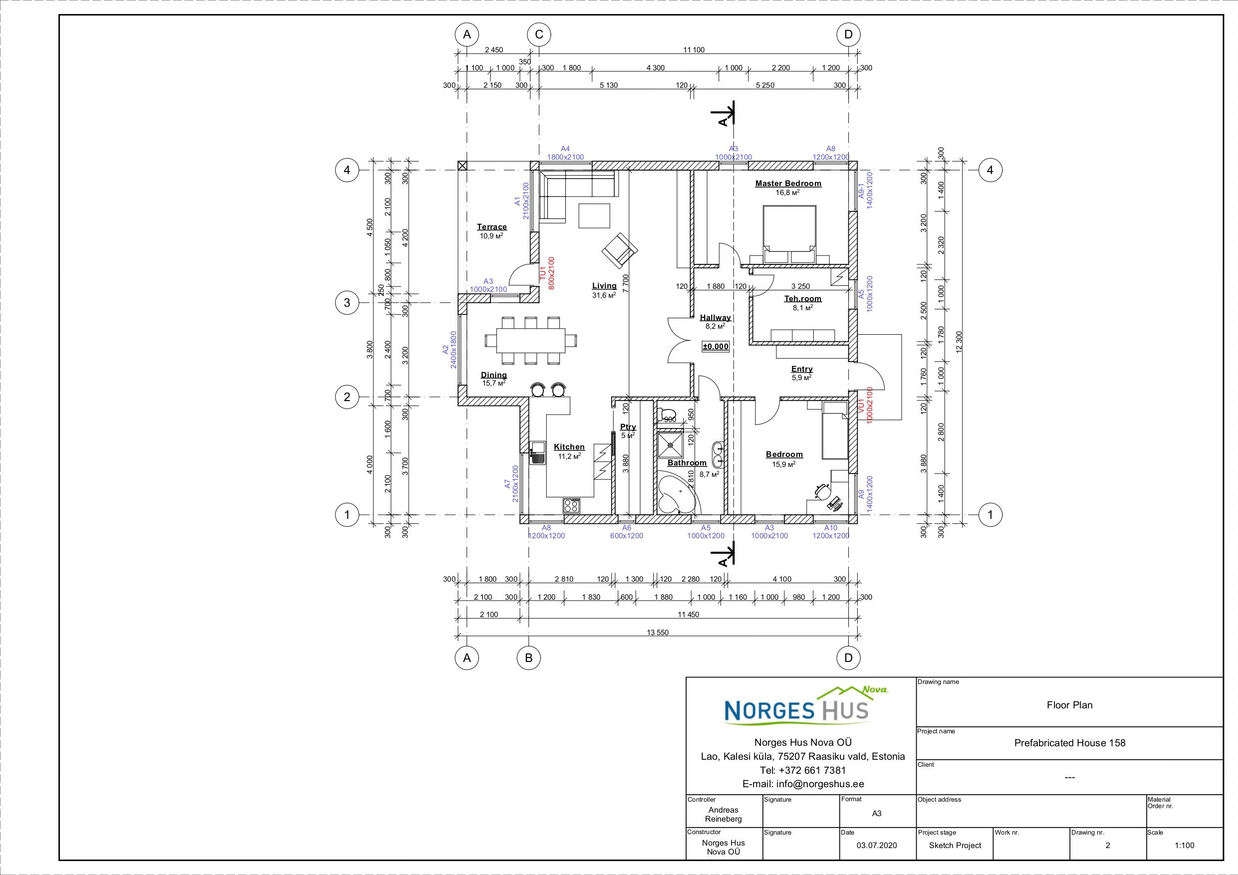 Planimetria della costruzione Casa in Legno modello MODELLO 158 di NORGES HUS