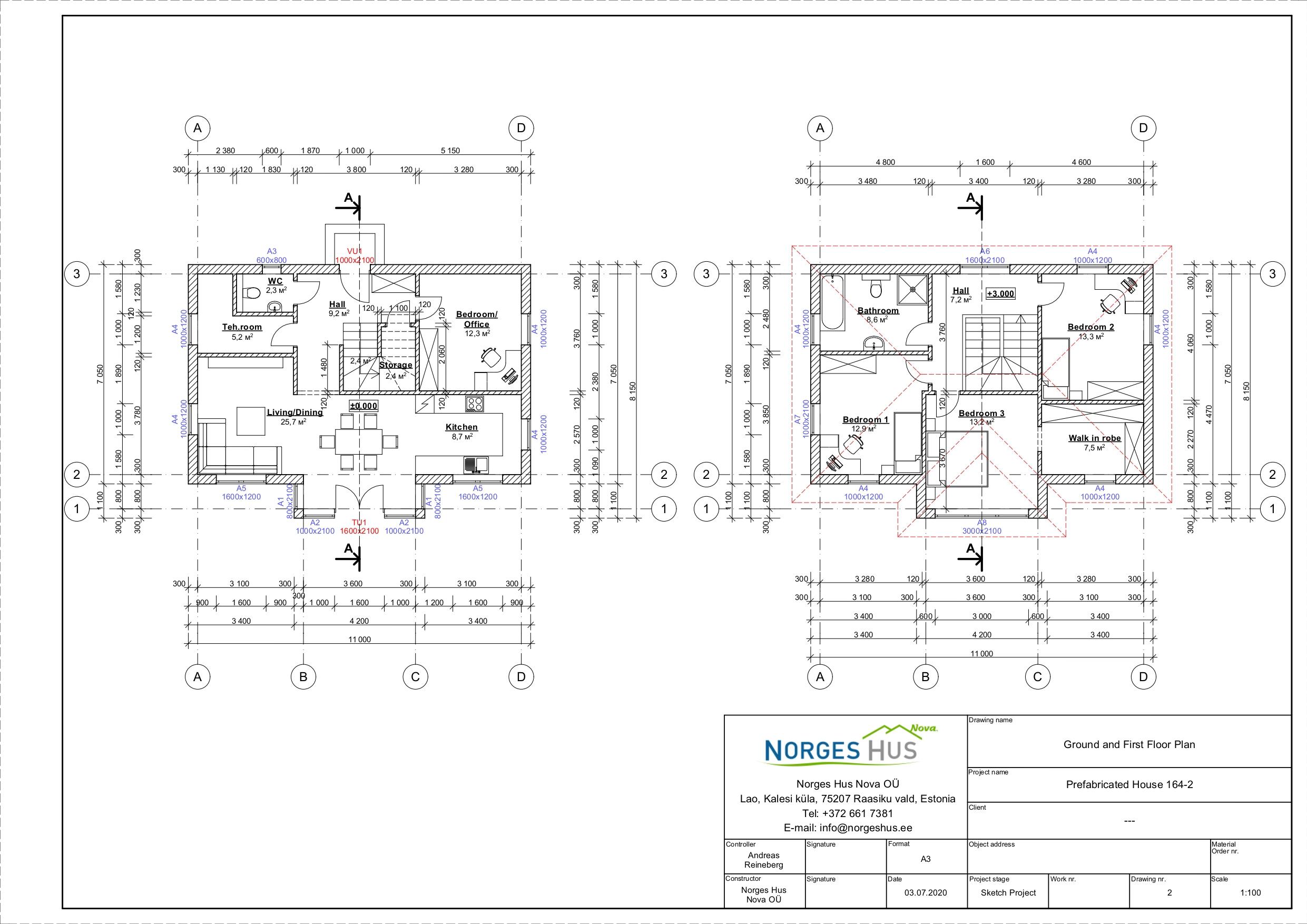 Planimetria della costruzione Casa in Legno modello MODELLO 164.2 di NORGES HUS