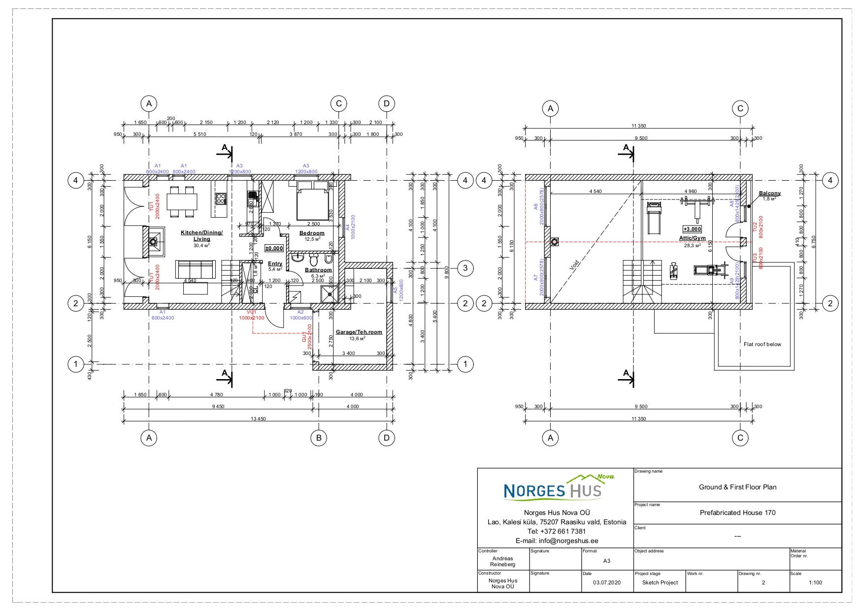 Planimetria della costruzione Casa in Legno modello MODELLO 170 di NORGES HUS