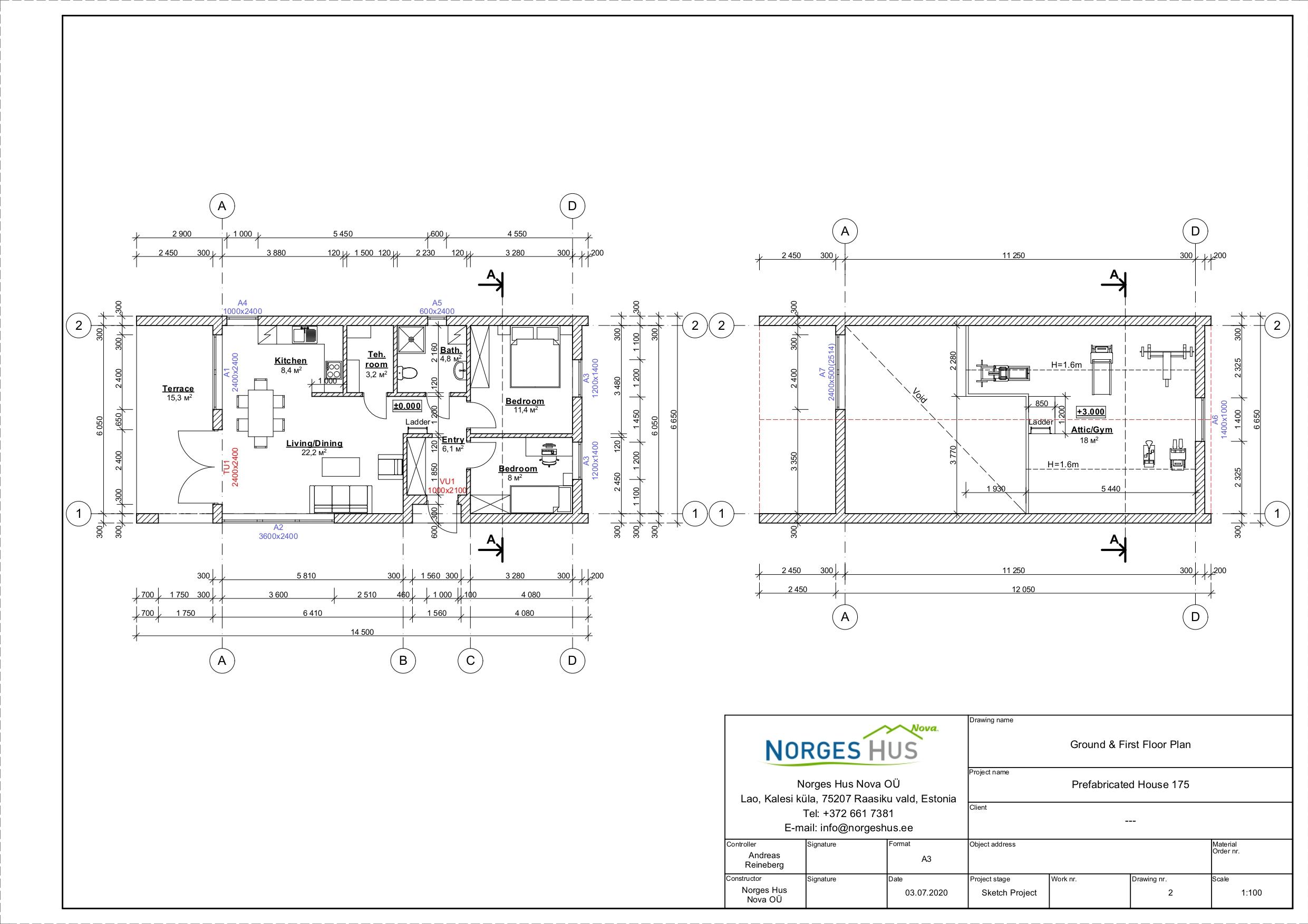 Planimetria della costruzione Casa in Legno modello MODELLO 175 di NORGES HUS