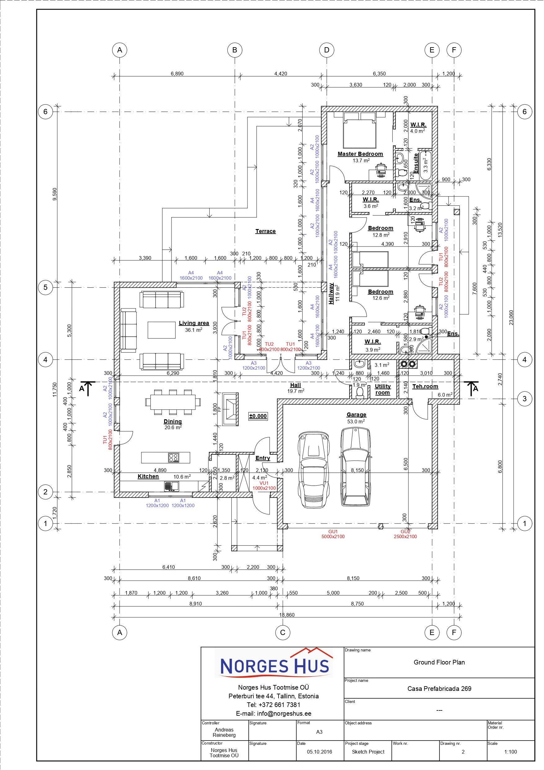 Planimetria della costruzione Casa in Legno modello MODELLO 269 di NORGES HUS