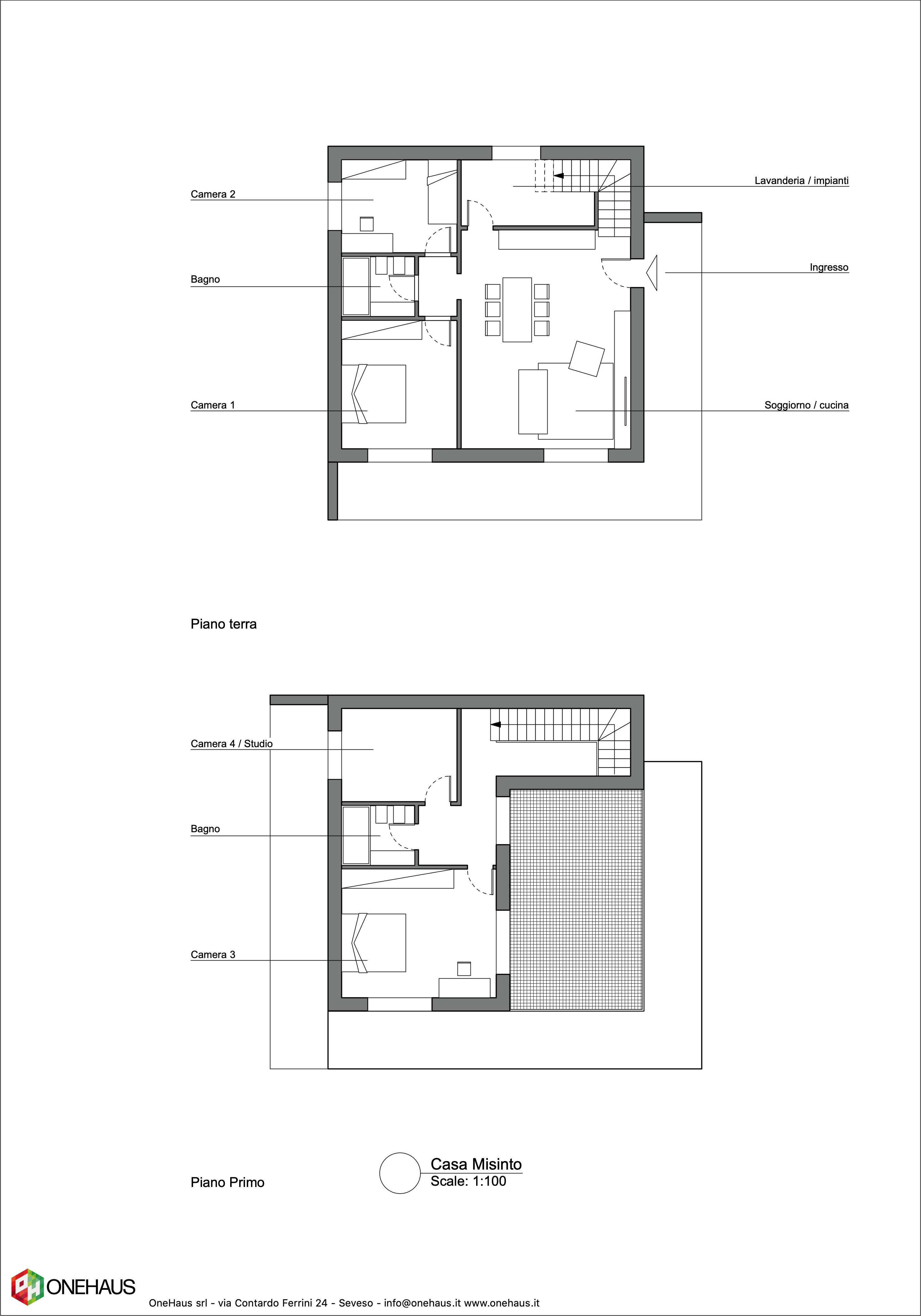 Planimetria della costruzione Casa in Legno modello Casa Misinto di OneHaus