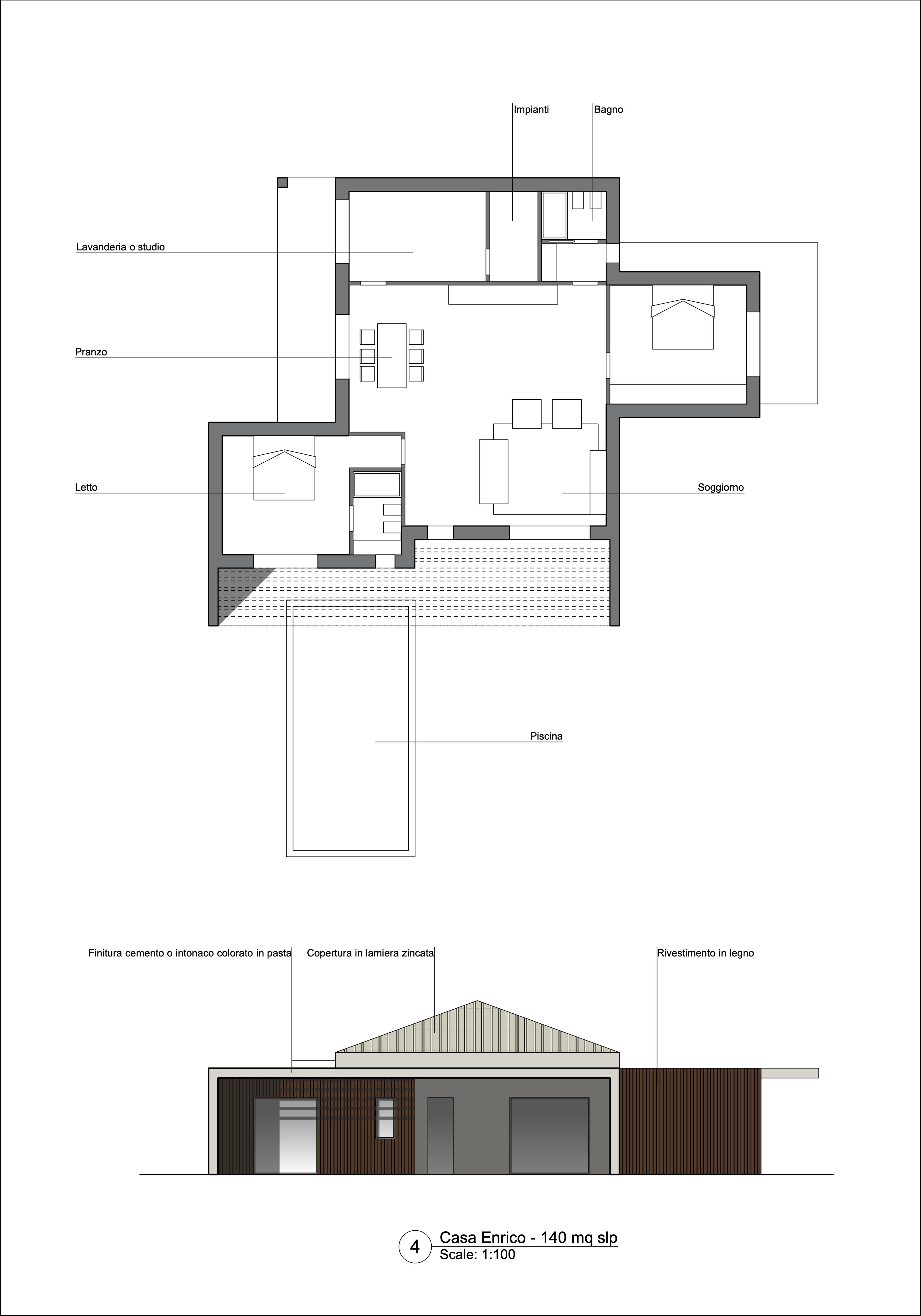 Planimetria della costruzione Casa in Legno modello Casa Enico di OneHaus