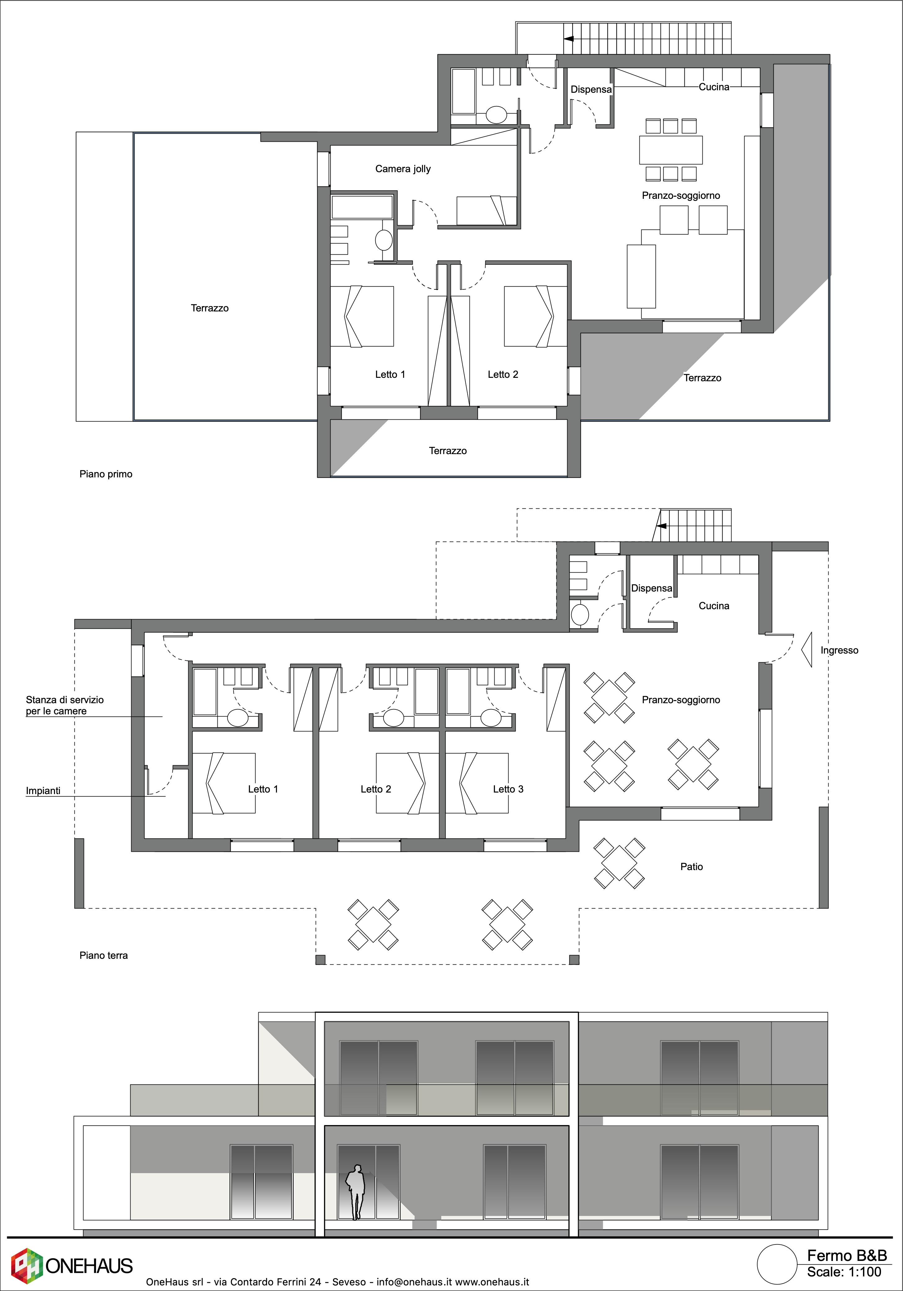 Planimetria della costruzione Struttura ricettiva (hotel, villaggio) in Legno modello Bed and Breakfast di OneHaus