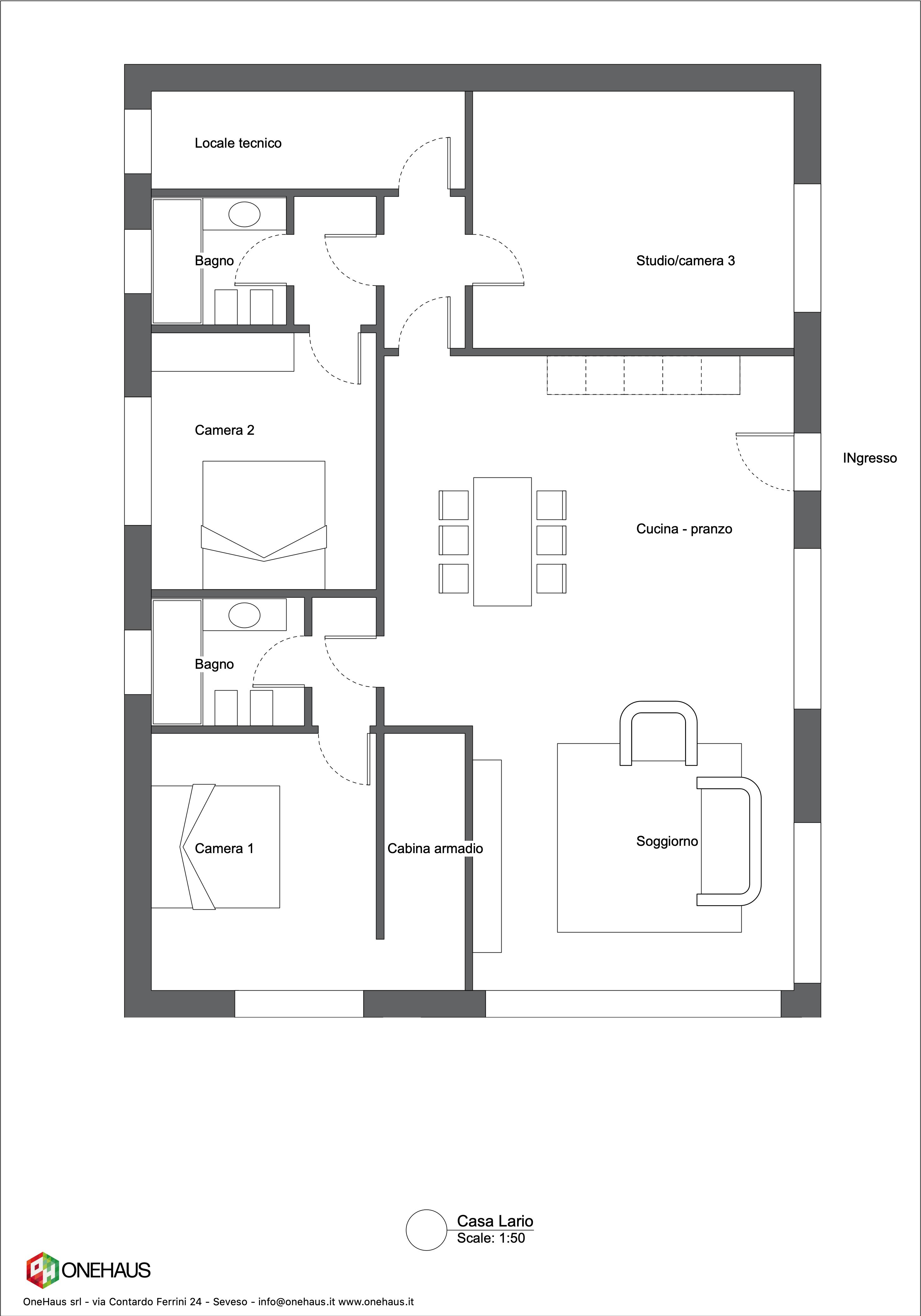 Planimetria della costruzione Casa in Legno modello Casa Lario di OneHaus