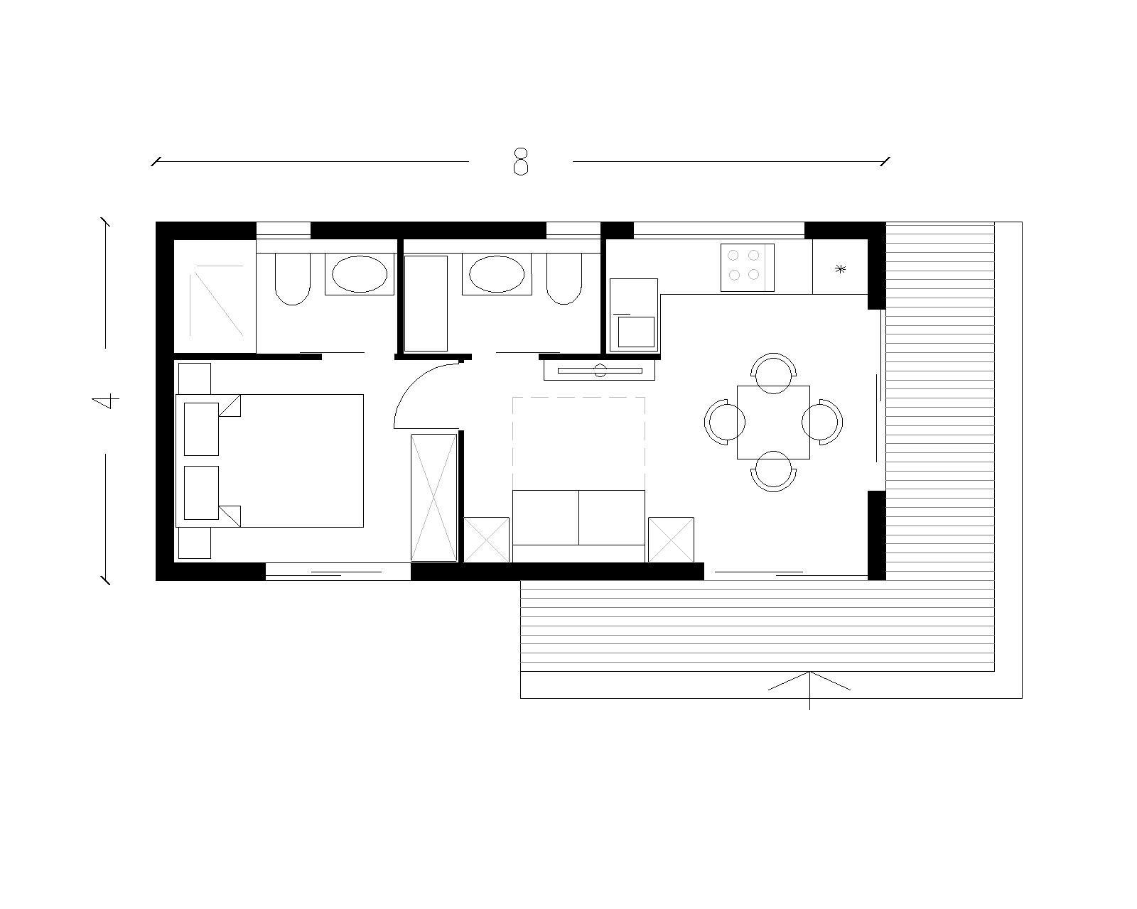 Planimetria della costruzione Baita o Chalet in Legno modello bulgalow  per camping - strutture ricettive   di RIKO-HISE srl - Arch. Daniele Bonzi
