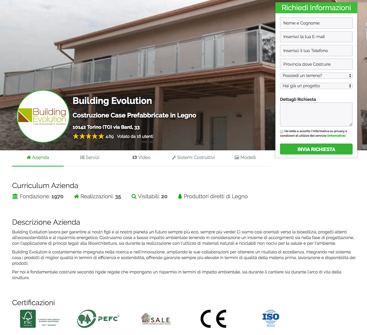 Contatti interessati a costruire una casa in legno o in for Costruttori di case contemporanee
