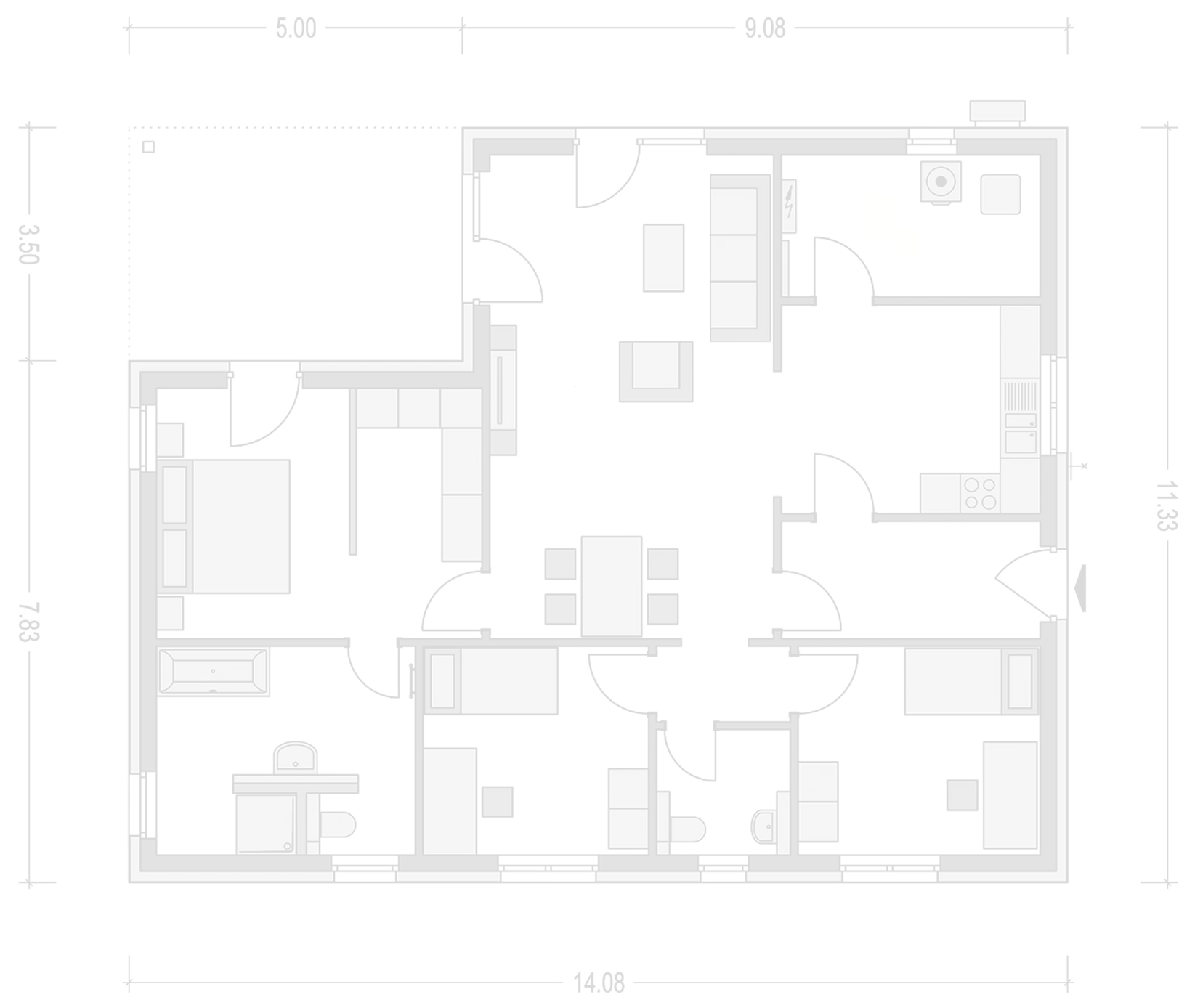 Planimetria della costruzione Casa in Legno modello Casa Walter di Vibrobloc S.p.A.