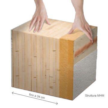 Dettaglio costruzione muro MHM Massive Holz Mauer