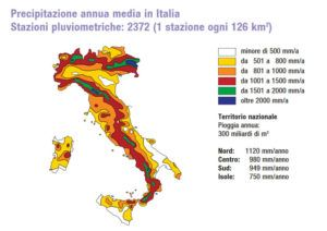 precipitazioni annue medie in Italia