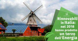 Energie rinnovabili in Italia: nel 2018 hanno prodotto un terzo dell'Energia