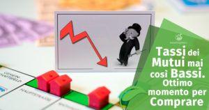 Tassi dei mutui mai così bassi. Ottimo momento per comprare casa