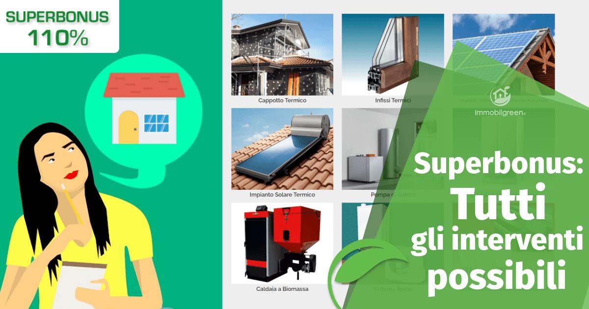 Superbonus: tutti gli interventi di riqualificazione energetica incentivati